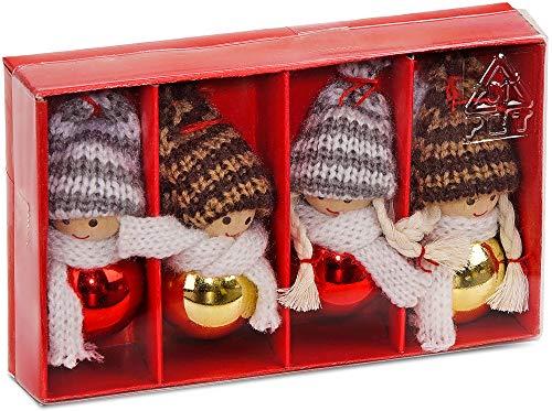 Brubaker Set di 4 Gnomi di Natale in Legno Decorazioni addobbi Natalizi 8 cm in Confezione Regalo