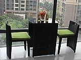 Huoduoduo Tisch- und Stuhlgarnitur, handgearbeiteter PE-Rattansessel, Multifunktionsablage Leicht zu reinigen, Outdoor-Balkon beiläufige Rattanmöbel, schwarz
