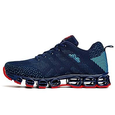 a5ff1ebe56c5 Chaussure de Sport Homme Sneakers Textile Course entraînement Running  Antichoc antidérapant Confortable Bleu foncé 39 (