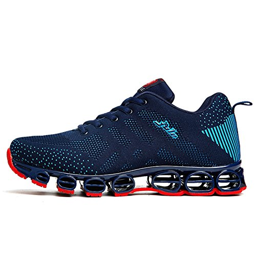 Chaussure de Sport Homme Sneakers Textile Course entraînement Running Antichoc antidérapant Confortable Bleu foncé 43 (Recommandez la Taille Un de Plus)