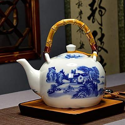 CHADFFL Théière en Céramique Grande Capacité 1500 ML en Porcelaine Bleue Et Blanche en Céramique avec Bouilloire