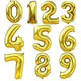 Tayar Ballon Zahl 0 bis 9 in Gold oder Silber - XXL Riesenzahl 100cm - für Geburtstag Jubiläum & Co - Party Geschenk Dekoration Folienballon Luftballon Happy Birthday (5-Gold)