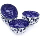 Vancasso Porzellan Müslischale, 6-teilig Schalen Set, 13 cm Durchmesser, Schüssel für Reis, Brei, Suppen, Müsli, Dessert