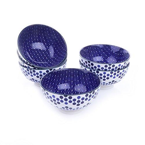 Vancasso Tazón de fuente de cereal de la porcelana cuencos de 6 pedazos fijados, diámetro de 13 cm, cuenco para el arroz, gachas de avena, sopas, cereales, postre