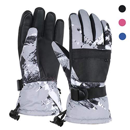 TBoonor Skihandschuhe Touchscreen Winterhandschuhe Herren Damen Kinder Wasserdicht rutschfest Handschuhe für Outdoor Wintersport wie Snowboard Radfahren (1-Schwarz, M (12-16 Jahre))