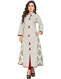 Clothfab Women's Reyon Cotton Material Straight Long Sleeve Printed Stylish Party Wear Kurti (White-Colour-Size-XL)