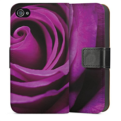 Apple iPhone 4 Housse Étui Silicone Coque Protection Lilas Rose Fleur Sideflip Sac