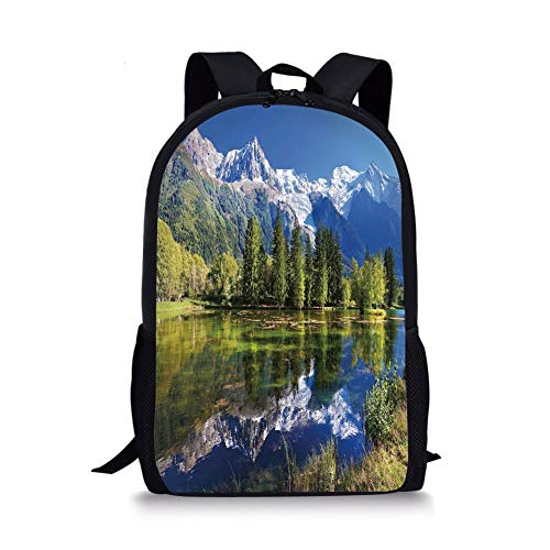 Snowy Mountains Evergreen Spruce Reflected in Lake City Park Chamonix France,Blue Green White for Boys&Girls Mens Sport Daypack ()