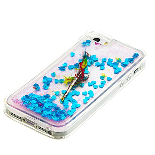 """iPhone 5S Coque, iPhone 5 etui, Rosa Schleife® iPhone SE / 5S / 5 TPU 3D Liquide glitter Étui paillette Housse Ultra Slim Protection Case Cristal Silicone Gel Bumper avec Quicksands pour 4"""" Apple iPho Bleu - 2"""