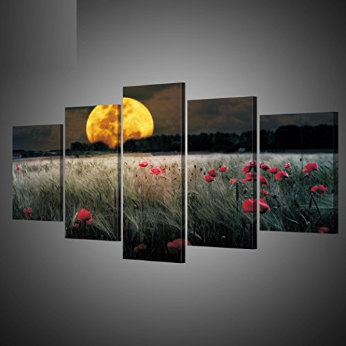 GY&H 5 Stücke von abstrakten Gemälden Nachtmond Drucke auf Leinwand Wohnzimmer dekorative Kunst Wandmalerei,Size1