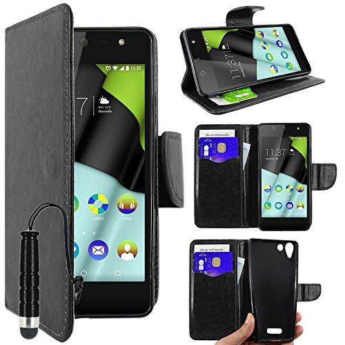 ebestStar - Wiko Selfy 4G Hülle Kunstleder Wallet Case Handyhülle [PU Leder], Kartenfächern, Standfunktion + Mini Stift, Schwarz [: 141 x 68.4 x 7.7mm, 4.8'']