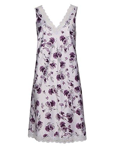 Camicia da notte in raso, Lilla/Viola floreale, tutte le taglie Lilac Purple 42