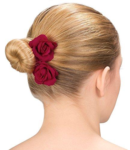 SIX Party 2er Set Doppelpack Haarspangen mit roten Rosen Blüten Blumen aus Stoff, Hochzeit Haarschmuck (488-029)