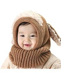 JOYKK Bébé Bonnet Tricoté Crochet Écharpe Peluche Patchwork Oreille À  Capuchon Oreilles De Chiot Bonnet Bonnet Cache-Cou Infant… 643e3b6d355