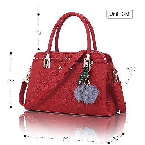 Donne Shoulder Messenger bag Decorazione di palla peluche handbag Rosso Rosso Nero