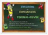 Einladungskarten zur Einschulung schön - für Jungen und Mädchen, Schulkinder, Freunde, Menge 80, Größe 17 x 12 cm
