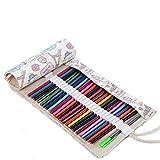 Abaría - Bolsa de lápiz de colores, mediana estuche enrollable 72 lápices, portalápices de lona,...