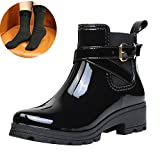 ukStore Damen Gummistiefel Regenstiefel Kurzschaft Stiefel Blockabsatz Chelsea Boots Rain Schuhe, Schwarz 35
