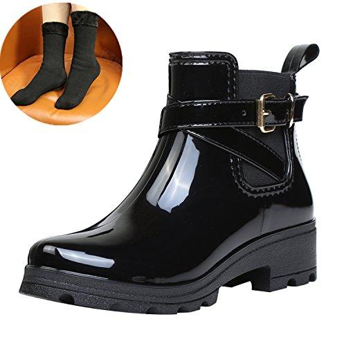 Bild von ukStore Damen Gummistiefel Regenstiefel Kurzschaft Stiefel Blockabsatz Chelsea Boots Rain Schuhe, Schwarz 39