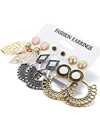 Shining Diva Fashion 14 Latest Design 6 and 9 Pairs Combo Stylish Earrings For Women and Girls