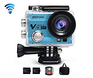 JEEMAK 4K Sports Action Camera 16MP WiFi Waterproof Camera with 2.4G Remote Control,170° Wide Angle, 2.0'' LCD Screen,2 Rechargeable Batteries and Portable Package(Blue)