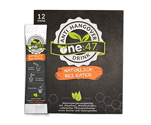 one:47 ® Anti-Hangover-Drink | 12 Sticks | PATENTIERTE FORMEL | hochkonzentriert & vegan | Natürlich bei Kater | hochkonzentrierte Elektrolyte und Pflanzenextrakte Ginkgo, Weidenrinde, Ingwer, Kaktusfeige, Acerola | natürliche Inhaltsstoffe | Mineralien Magnesium, Zink, Natrium | aus Deutschland | bei Alkoholkonsum | Anti-Hangover-Sticks one47 (Alkohol 47)