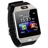 EMEBAY - Montre Intelligente Bluetooth/Montre connectée Bluetooth Smart Watch avec caméra pour Huawei, Xiaomi, Sony, Samsung et d'autres Android Smartphones DZ09 (Podomètre inactif) Noir + Argent
