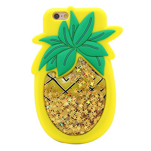 iPhone 6 Plus 6S Plus Fall, Anya 3D Cute Bow Superhero Serie Style Cartoon Soft Gummi Silikon Back Shell Case Cover Haut für Apple iPhone 6 6S Plus 14 cm, Quicksand Pineapple (Bling Iphone 4 Bow Fall)