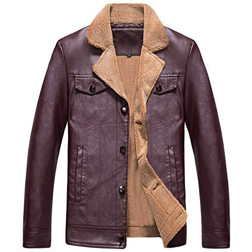 Zarupeng Herren Softshell Jacke Einfarbig Kunstleder Mantel Gefüttert Fleece Winter Casual Langarm Revers Lederjacke Blazer Tops