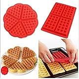 Molde waffle para galletas cocina, 2diseños de silicona antiadherente, herramienta para hornear, paquete de 2 unidades