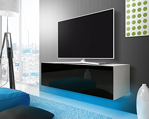 Lana - Meuble TV suspendu / Table Basse TV / Banc TV de Salon (140 cm, Blanc Mat / Noir Brillant avec LED bleue)
