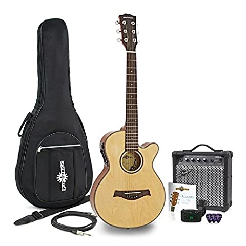 3/4 single Cutaway Elektroakustische Gitarre + 15W Amp Pack (Single Cutaway Gitarre)