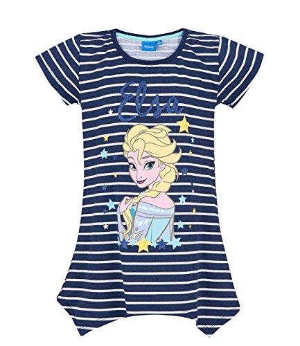 Disney Die Eiskönigin Elsa & Anna Mädchen T-Shirt - Marine Blau - 128 (T-shirt Marine-blau-mädchen)