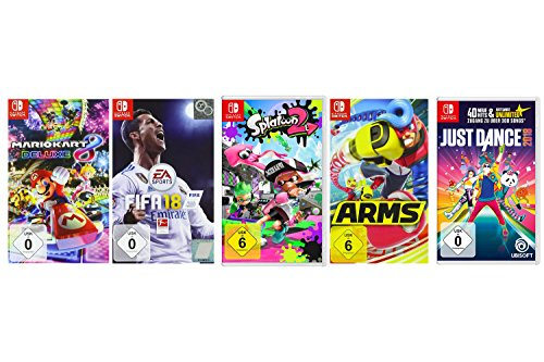 Mario Kart 8 Deluxe + FIFA 18 + Splatoon 2 + ARMS + Just Dance 2018 [Nintendo Switch] (Wii U Super Mario Kart)
