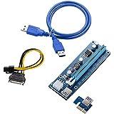 FUERAN Ver 006C PCI-E 1x TO16x riser Extender scheda adattatore SATA pin maschio a pin cavo di alimentazione e 60CM USB 3.0–1P