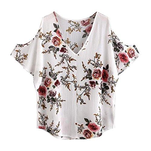 feiXIANG mode frauen Damen floral bedruckt hemd bluse tops t - shirt tief V-Kragen Schulter Kurzarm bluse (XL, Weiß) (Tunika Cowl-kragen)