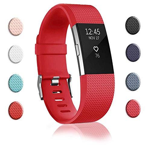 WanHua Verstellbare Sports Ersatz Armbänder Fitnessband Für Fitbit Charge 2 Weiches Silikon Sport Ersatz Armband Wristband Uhrenarmband Für Damen & Herren