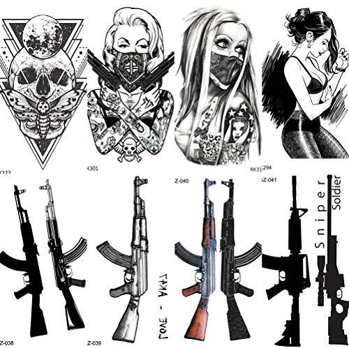 COKTAK 8 BläTter Maskierte Gangster Erwachsene TemporäRe Tattoos FüR Frauen Sexy KöRperkunst Waffe MäDchen Arm Tattoo Aufkleber Ak Pistole M416 Awm Sniper Gewehr GefäLschte Wasserdichte Tod SchäDel