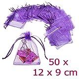 JZK 50 x Klein Lila Organza Saeckchen Süßigkeiten Beutel Geschenk Schmuckbeutel Geschenk Bags mit Drawstring, für Hochzeit Geburtstag Taufe Party Babyparty Baby Shower, 12 x 9cm