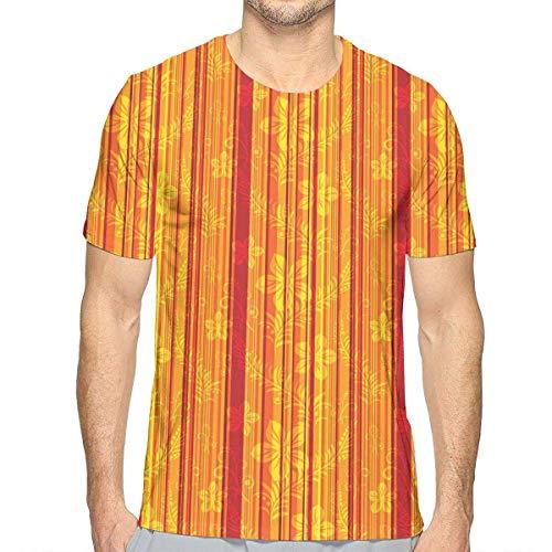 Vertikale Streifen-shirt (3D gedruckte T-Shirts, vertikal Streifen-Muster mit stilisierten Blumen wirbelten Blätter und Punkt-Entwurf)