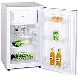Kühlschrank mit Gefrierfach A++ (90 Liter) 4-Sterne-Gefrierfach (-18 °C) LED-Innenbeleuchtung ✓ Abtauautomatik ✓ höhenverstellbare Glasablagen ✓ Gemüsefach ✓ Türablagen ✓
