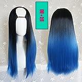 WIAGHUAS U-Type Perücke Weibliches Langes Haar Gerades Haar Unsichtbare Nahtlose Haarteil Natürliche und Realistische Mode Blue Gradient Haarfarbe Set,Schwarz und Blau Farbverlauf