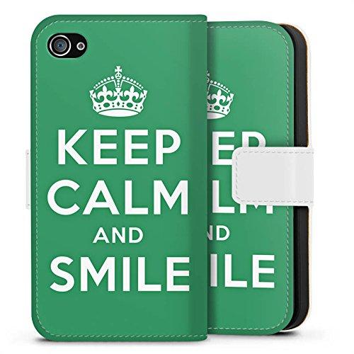Apple iPhone X Silikon Hülle Case Schutzhülle Keep Calm and Smile Sprüche Grün Sideflip Tasche weiß