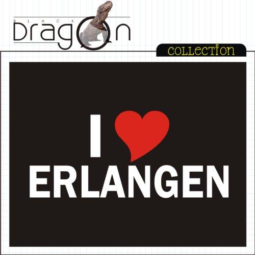 T-Shirt mit Städtenamen - i Love Erlangen - Herren - unisex Schwarz
