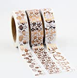 Set aus 3 Japan-Papier- / Washi-Bändern, kupfer- / rotgold-farben