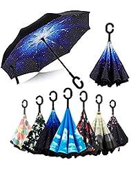 Paraguas Invertido, Paraguas Plegable, reversible, con protección contra rayos UV, con mango en forma de C invertida. Paraguas de doble capa a prueba de viento (106 cm), stars