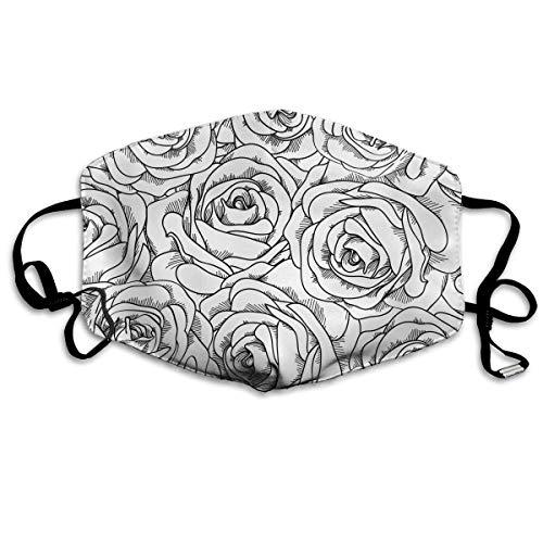 Anti-Allergie Maske für Jungen und Mädchen, Anti-Allergie, Ohrschlaufe, Halbgesicht, Gesichts- und Nasenschutz, winddicht, verstellbar, elastisches Band, Schwarz/Weiß Rose -