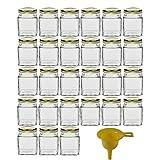 Viva Haushaltswaren #18279#  27 x kleines Marmeladenglas / Gewürzglas 106 ml mit goldfarbenem Schraubverschluss, Gläser Set mit Deckel als Einmachgläser, Vorratsdose etc. verwendbar (inkl. Trichter)