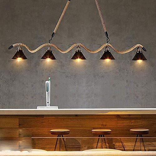 Industriedesign Pendelleuchte Vintage Einfache Seil Eisen 5-Lights Kronleuchter Elegante Innovationen Höhenverstellbare Pendelleuchte Wohnzimmer Esszimmer Bar Deckenbeleuchtung E27 Max 60W L160cm -