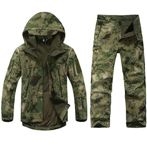 PEIJIAN Tactical Jacken Herren Outdoor-Jagd Wasserdichtes Mantel-Kleidung der Männer Camouflage Military Fleece-Jacke und Hosen Anzüge Ruins Green XXXL
